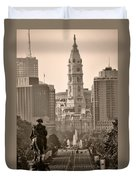 The Parkway In Sepia Duvet Cover by Bill Cannon