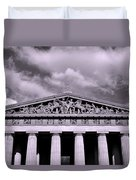 The Parthenon In Nashville Tennessee Black And White Duvet Cover