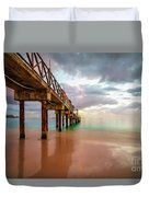 The Pastel Sky And The Jetty Duvet Cover