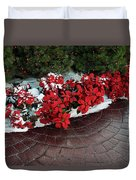 The Path To Christmas - Poinsettias, Trees, Snow, And Walkway Duvet Cover