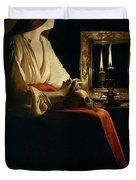 The Penitent Magdalen, Georges De La Tour Duvet Cover