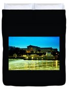 The Philadelphia Art Museum And Waterworks At Night Duvet Cover