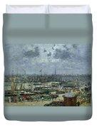 The Port Of Bordeaux Duvet Cover by Eugene Louis Boudin