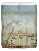 The Port Of Le Havre In The Afternoon Sun Duvet Cover by Camille Pissarro