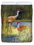 The Protector - Sandhill Cranes Duvet Cover