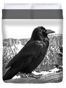 The Raven - Black And White Duvet Cover