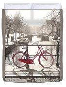 The Red Bicycle Of Amsterdam Duvet Cover