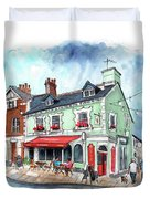 The Red Boat In Beaumaris Duvet Cover