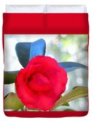 The Red Camellia Duvet Cover
