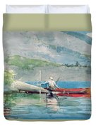 The Red Canoe Duvet Cover by Winslow Homer