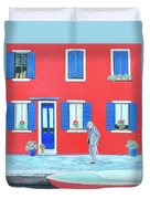 The Red House On The Island Of Burano Duvet Cover