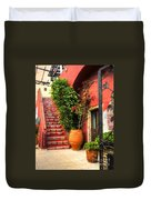 The Red Staircase Duvet Cover by Michael Garyet