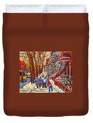 The Red Staircase Painting By Montreal Streetscene Artist Carole Spandau Duvet Cover