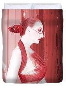 The Red Stripe - Self Portrait Duvet Cover