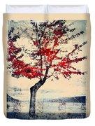 The Red Tree At Okanagan Lake Duvet Cover