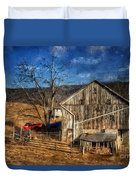 The Red Truck By The Barn Duvet Cover