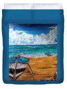 The Resting Boat And The Beach Holidays Duvet Cover