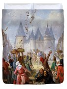 The Return Of Saint Louis Blanche Of Castille To Notre Dame Paris Duvet Cover by Pierre Charles Marquis