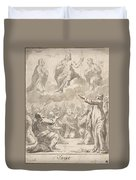 The Risen Christ Between The Virgin And St. Joseph Appearing To St. Peter And Other Apostles Duvet Cover