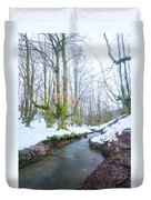 The River In The Otzarreta Forest With Snow Duvet Cover