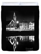 The River Liffey Reflections Bw Duvet Cover