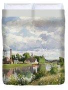 The River Oise Near Pontoise Duvet Cover by Camille Pissarro