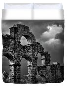 The Roman Aqueduct At Aspendos, Turkey.    Black And White Duvet Cover