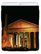 The Roman Pantheon At Night Duvet Cover