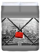 The Romantically Love Inscribed Padlocks On The Eiffel Tower, Pa Duvet Cover