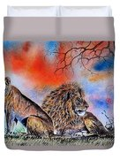 The Royal Lions Of The Mara Duvet Cover