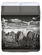 The Rugged Red Rocks In Black And White  Duvet Cover