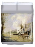 The Russian Destroyer Shutka Attacking A Turkish Ship On The 16th June 1877 Duvet Cover
