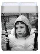 The Sad Girl On A Swing Duvet Cover