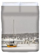 The Sailboat Korovin Is Moored In A Mostly Frozen Stage Harbor I Duvet Cover