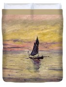 The Sailing Boat Evening Effect Duvet Cover by Claude Monet