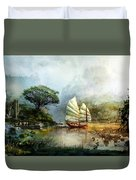 Sailing Boat In The Lake Duvet Cover