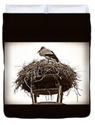 The Schierstein Stork Sepia Duvet Cover