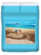 The Sea Surges Up With Laughter Duvet Cover