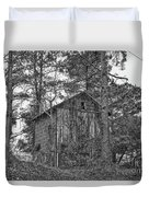 The Shack In Black And White Duvet Cover