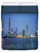 The Shanghai Skyline And Riverfront Duvet Cover