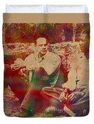 The Shawshank Redemption Movie Inspired Watercolor Portrait Of Tim Robbins And Morgan Freeman On Worn Distressed Canvas Duvet Cover