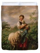The Shepherdess Duvet Cover by Johann Baptist Hofner