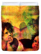 The Sistine Modonna Baby Angels In Abstract Space 20150622 Square Duvet Cover