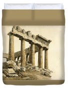 The South-east Corner Of The Parthenon. Athens Duvet Cover