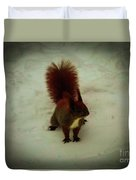The Squirrel In The Winter Garden Duvet Cover