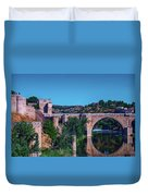 The St. Martin Bridge Over The Tagus River In Toledo Duvet Cover