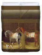 The Stables And Two Famous Running Horses Belonging To His Grace - The Duke Of Bolton Duvet Cover
