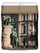 The Statue Of France Preseren And His Muse Duvet Cover