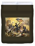The Storming Of The Fortress At Chapultec Duvet Cover by English School