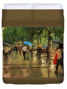 The Streets Of Paris In The Rain Duvet Cover